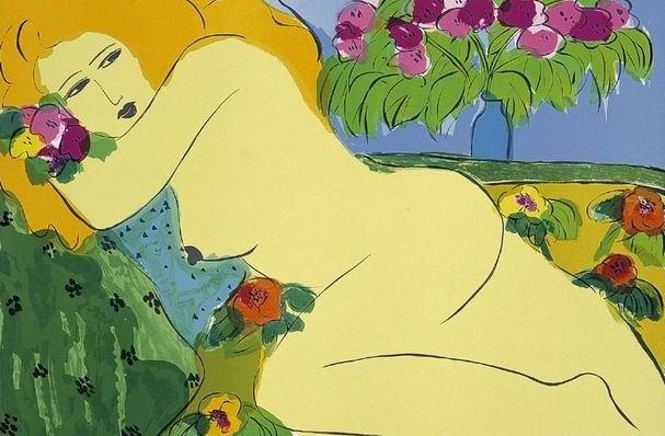 綠布上的金髮女郎  61x91  1985  石版畫