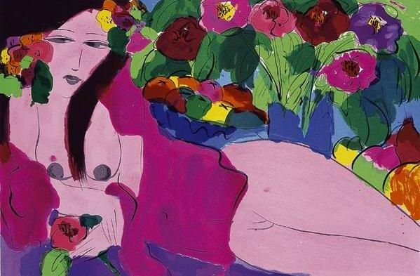 和平之花  61x91 cm  1988  石版畫