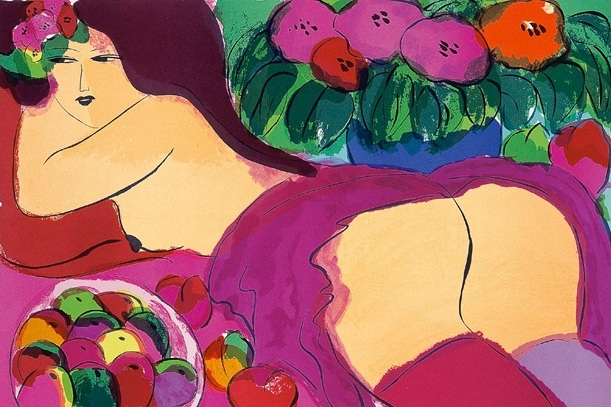 紅短裙  61x91 cm  1985  石版畫