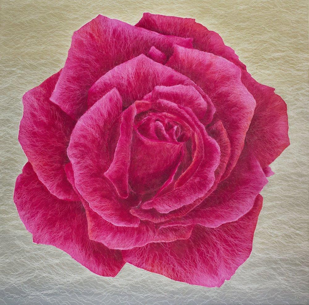 鄭麗雲 香檳玫瑰 135×135cm 2018 油彩畫布