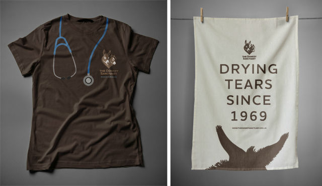 The agency designed a number of items for the charity's gift catalog such as the tea towel. The t-shirt on the left is worn by staff.