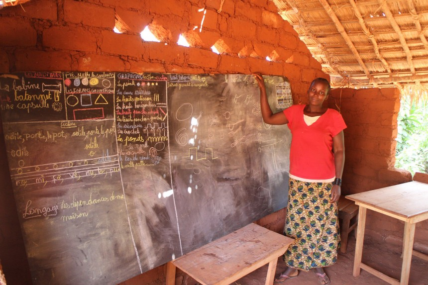 A teacher in her classroom at a community based school in the Central African Republic supported by the Global Partnership for Education.