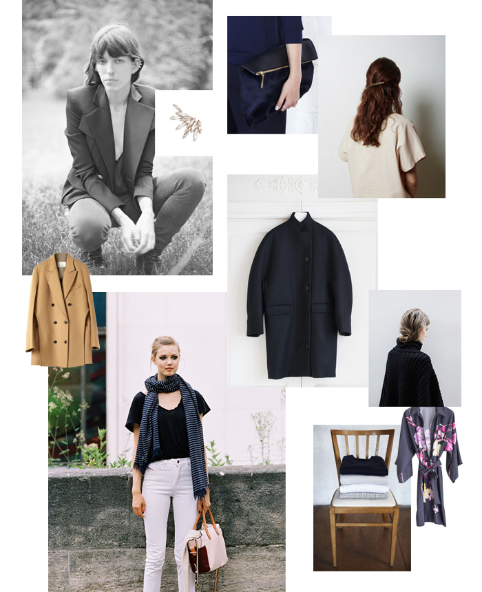Images (clockwise from top left); Lou Doillon via La Garçonne, Ryan Storer ear cuff, Whistles clutch,  the new La Garconne Moderne collection, Balenciaga coat from Département Féminin, Knitwear on La Garçonne, Dries Van Noten kimono from Département Féminin, folded knits from Whistles, Lindsay Wixson photographed by Vanessa Jackman, 3.1 Phillip Lim coat from Moda Operandi.