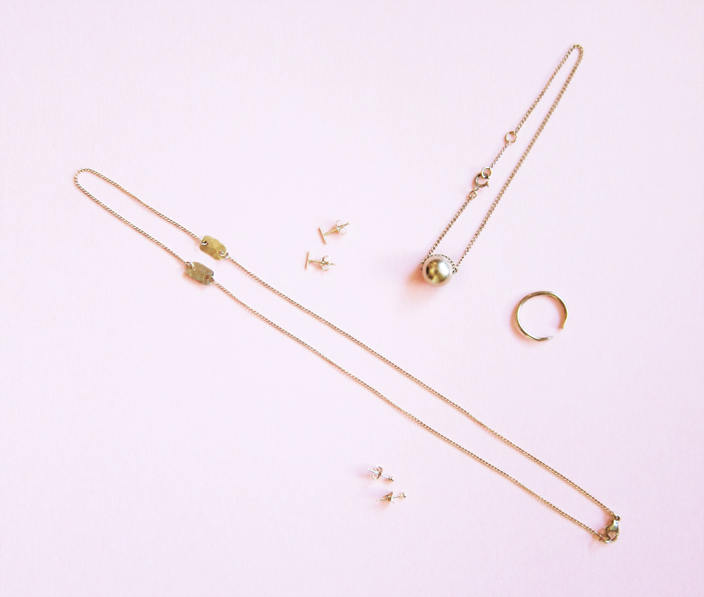 BRVTVS Claudia Bracelet, Sphera Earrings, Cleopatra Ring, Small Three Bar Ear Cuff, Cato Necklace, Small Vectis Earrings