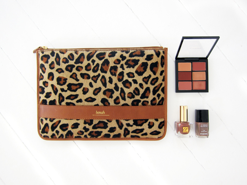 Benah Alex iPad case, MAC lip palette, Estee Lauder nail polish in Diabolique and Chanel nail polish in Particuliere.