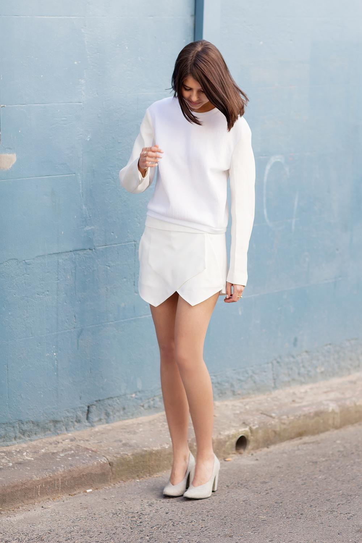 3.1 Phillip Lim Jacket Sleeve sweater, Zara skort, Rachel Comey heels