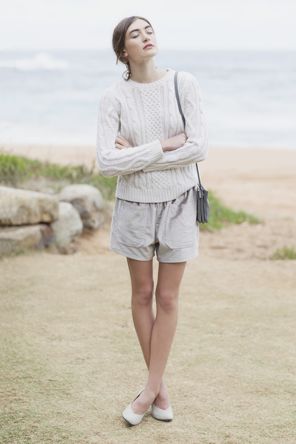 A.P.C cable-knit sweater from Bloodorange, Stylist's own Celine bag, Carly Hunter velvet shorts