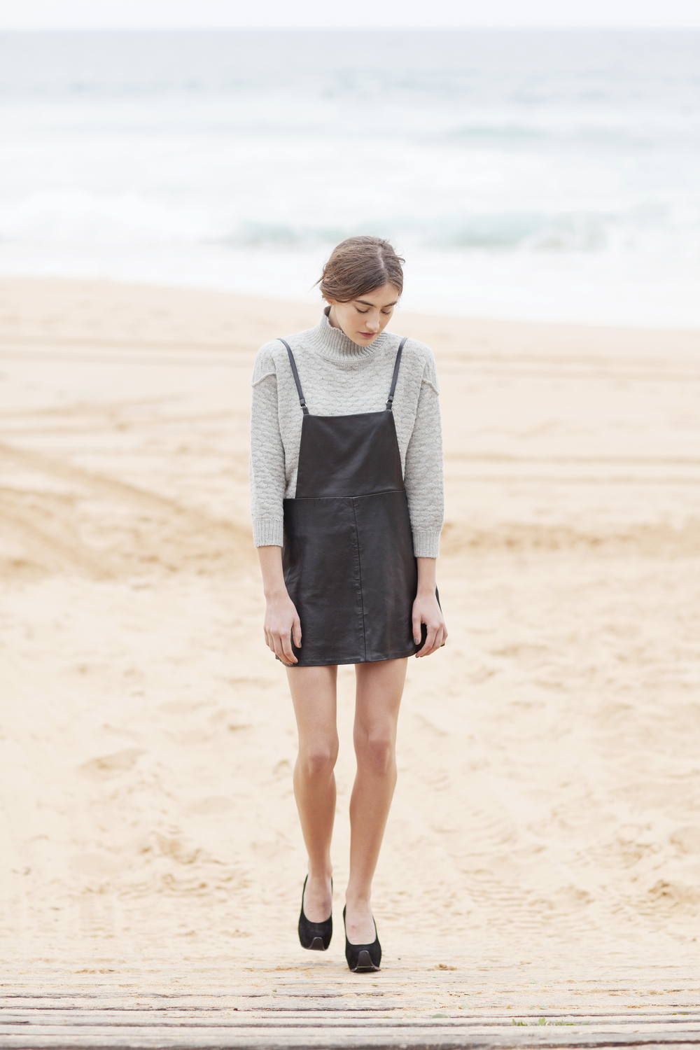 Dress Up sweater, Unif.m leather pinafore, Acne shoes