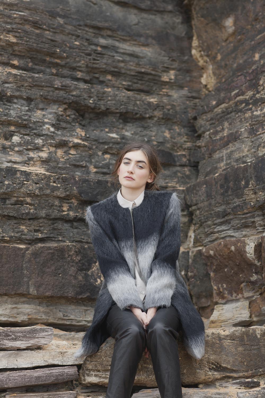 Acne shirt, Thursday Sunday coat, Organic by John Patrick leather track pants, Stylist's own Celine bag, Acne shoes