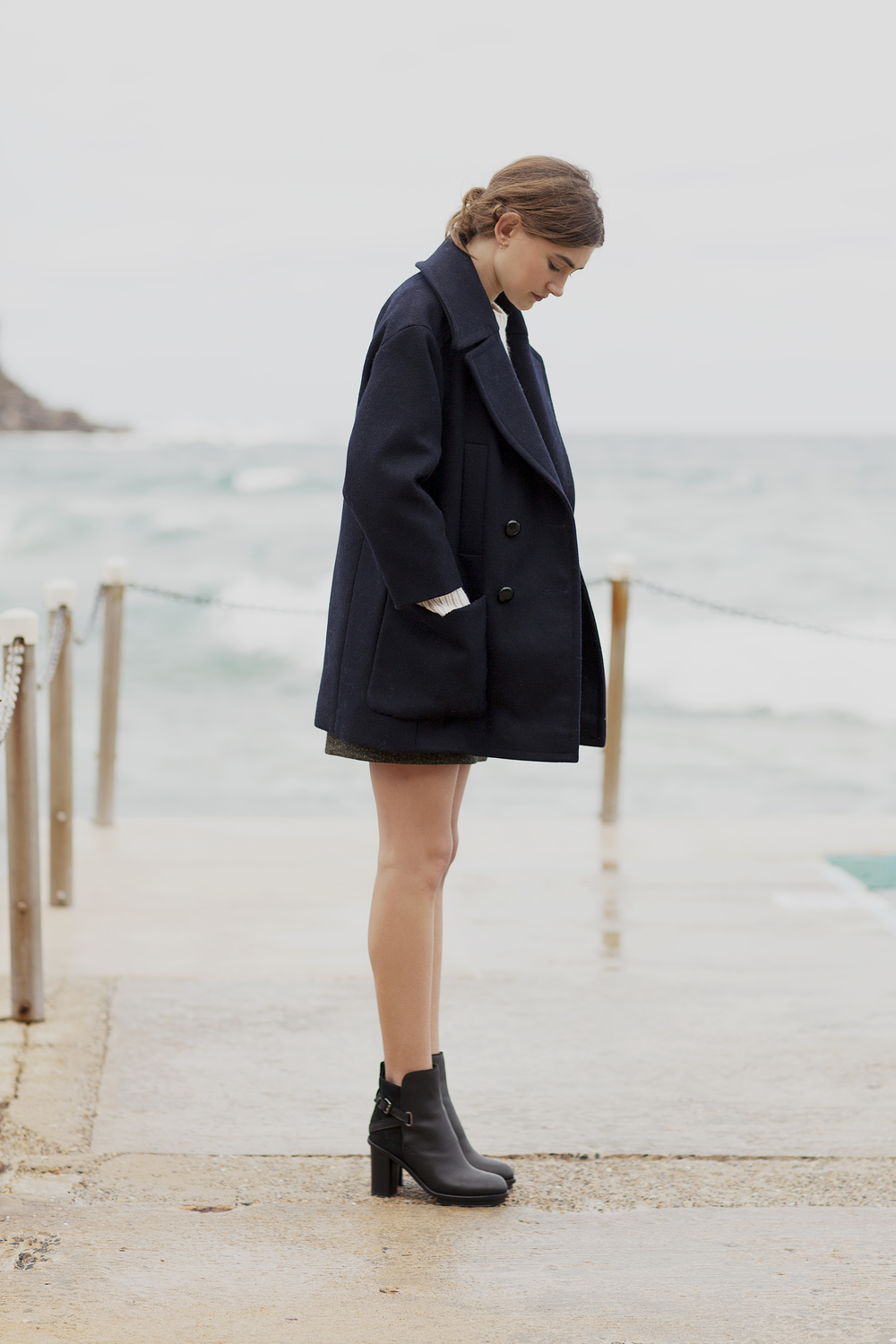 Stylist's own Isabel Marant coat, A.P.C cable-knit sweater from Bloodorange, Acne skirt and boots