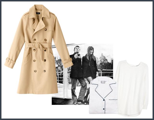 1. A.P.C trench coat, 2. Serge Gainsbourg & Jane Birkin, 3. Poplin Gatsby pyjamas, 4. Hope button back sweater