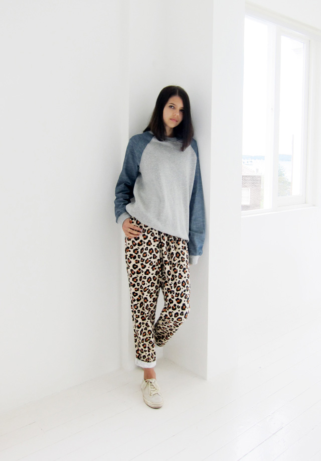 Bigeni Basics sweater and pants, Superga x The Row sneakers
