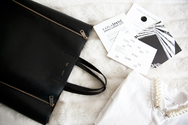 Celine bag, a selection of invites (including the one I designed for Karla Spetic), Tome shirt