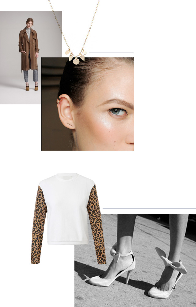 Dress Up trench, Petite Grand necklace, BRVTVS three bar cuff, Phillip Lim leopard sweatshirt, Carven shantung bow heel
