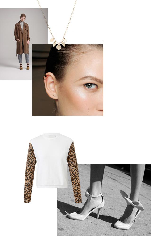 Dress Up trench, Petite Grand necklace, BRVTVS three bar cuff, Phillip Lim leopard sweatshirt, Carven shantung bow heel