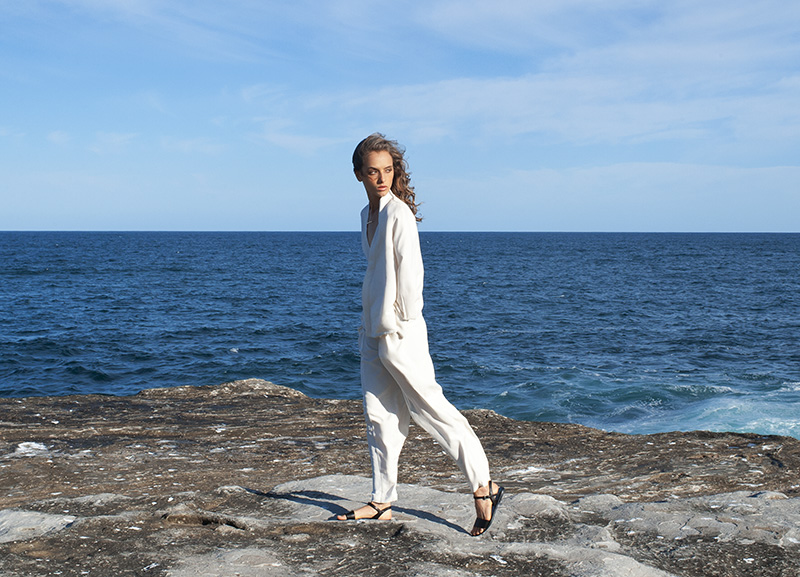 Thursday Sunday shirt and trousers, Sambag sandals, Jennifer Zeuner necklace