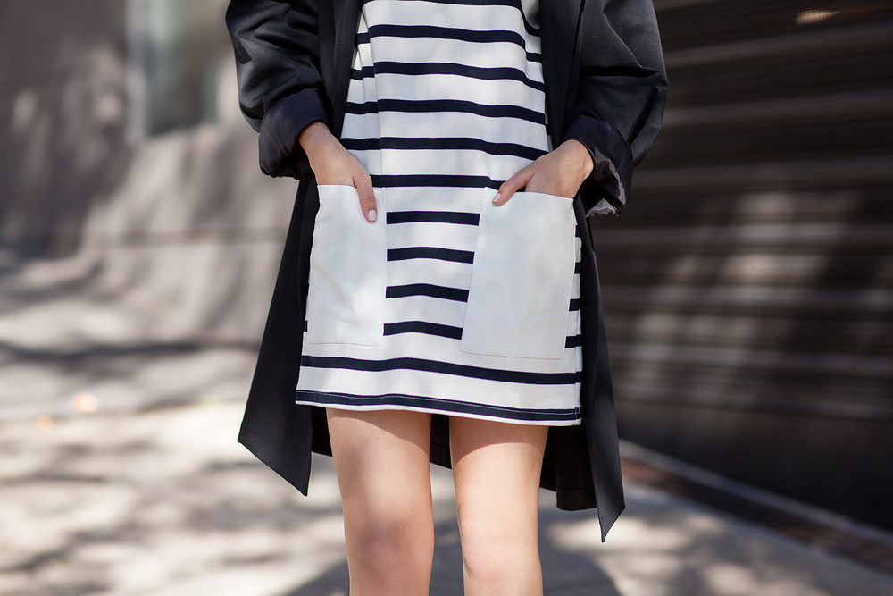 Glassons dress, Topshop coat (similar here), Dieppa Restrepo loafers from Mychameleon