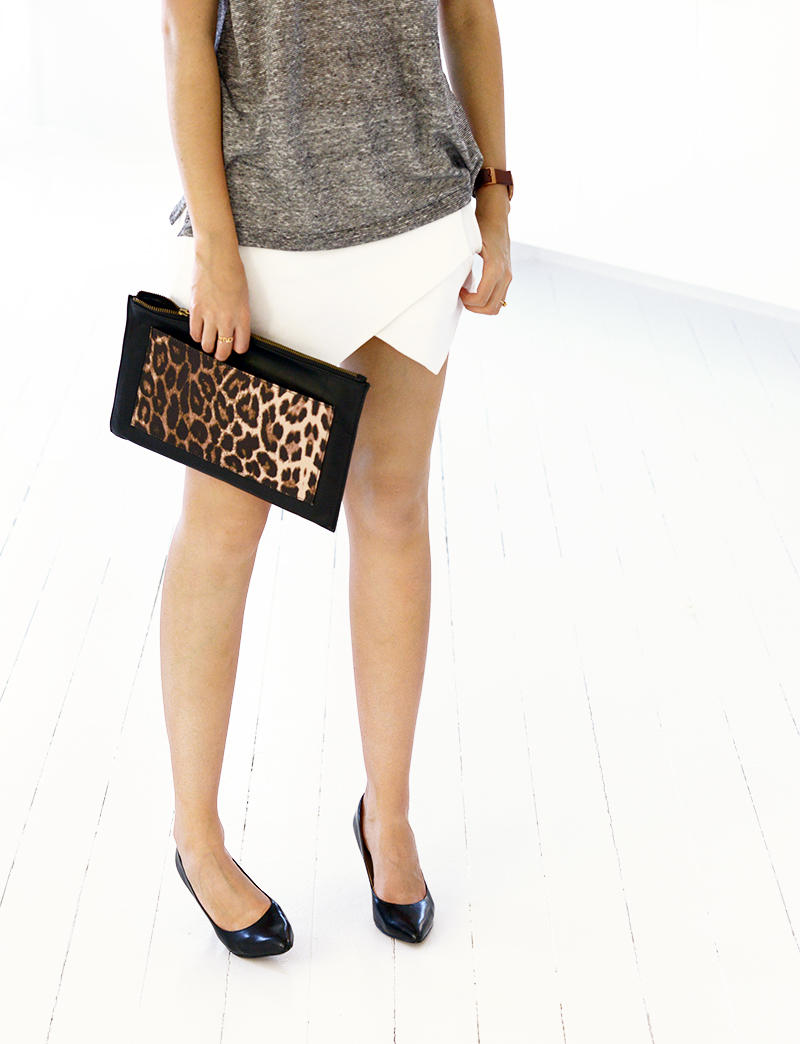 Bassike t-shirt, Zara skort, Sachi pumps, Zimmermann clutch, Uniform wares watch.