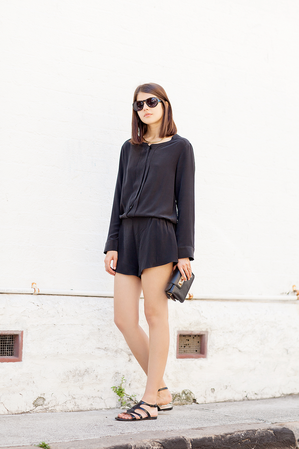 Unif.m playsuit, Dries Van Noten x Linda Farrow sunglasses (similar here), Zara clutch, Sachi sandals
