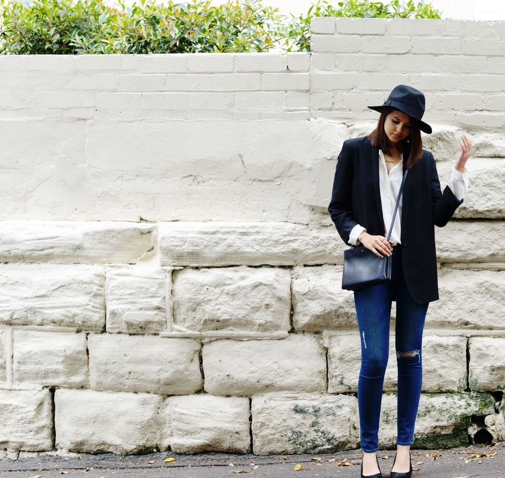 Helmut Lang blazer (similar here), Equipment shirt, Lack of Colour hat, Frame Denim jeans, Celine Trio bag, RMK pumps, Jennifer Zeuner bar necklace, Uniform Wares watch.