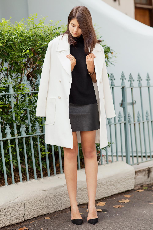 Camilla & Marc Grayscale Coat, ASOS turtle neck top, Eska Alikai leather skirt, Zara pumps