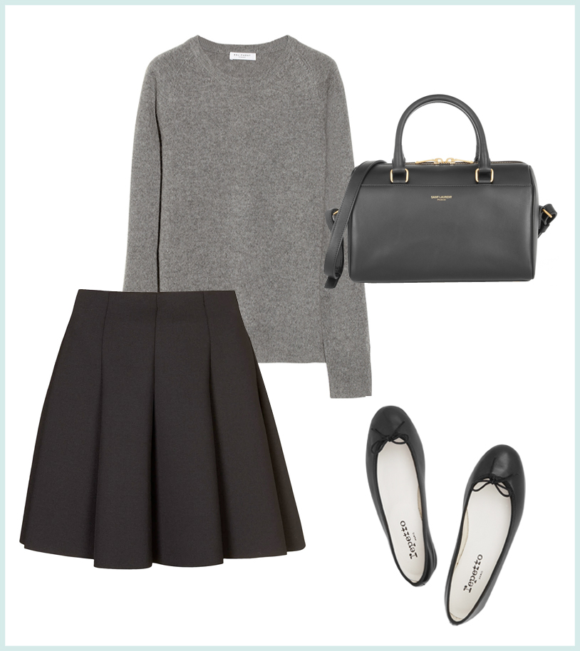Topshop Scuba Flippy Skirt (similar here), Equipment Sloane Cashmere Sweater, Saint Laurent Mini Duffle, Repetto Ballet Flats