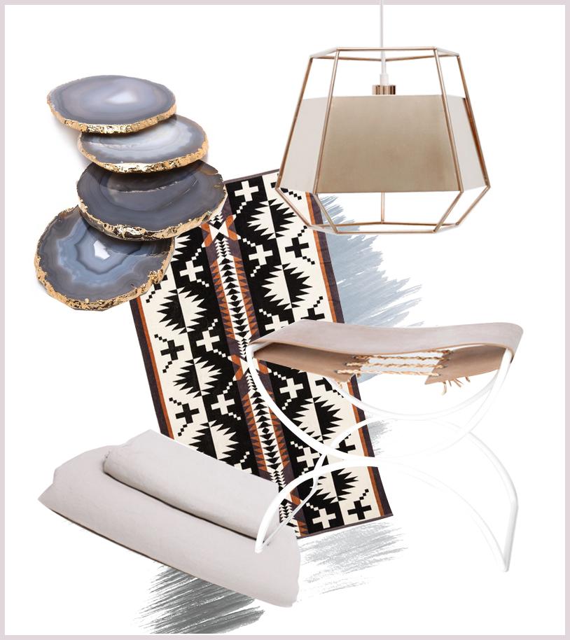 Agate coasters, Pendleton jacquard towel, Iacoli & McAllister light, Totokaelo stool, In Bed linen duvet set