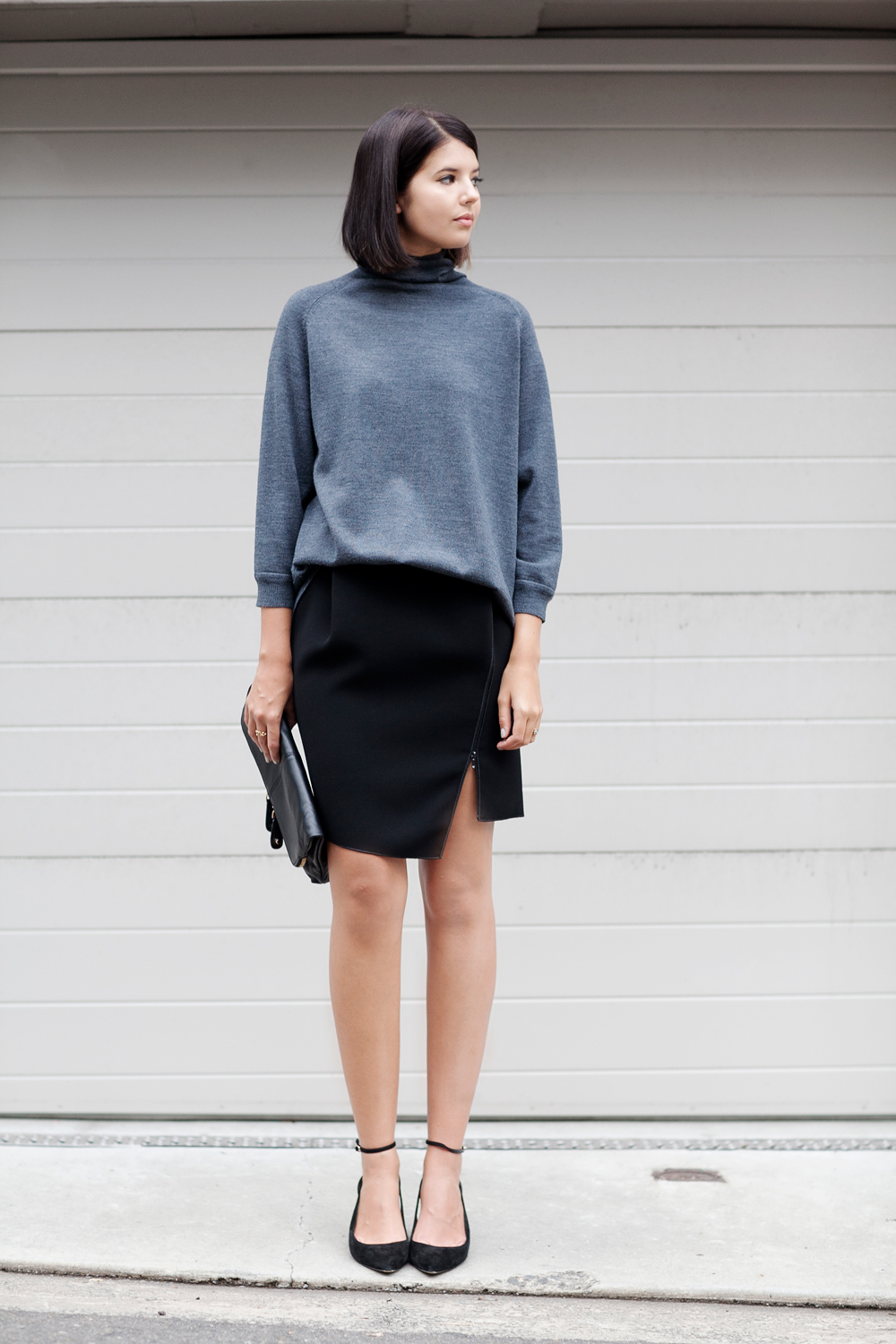 Scanlan & Theodore cape back sweater, Dion Lee scuba skirt (similar here and here), Alexander Wang suede pumps (leather version here), Shop Nomadic clutch
