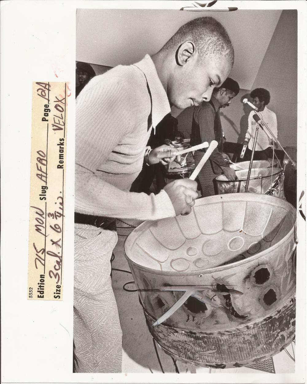 A photo from 1974 of Earl Harewood playing a tenor pan.  Haven't been able to find out anything about him. I did learn a good deal about the Earl Of Harewood.