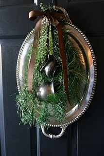 Aunt June's old silver can be r-purposed into a fabulous seasonal door wreath (Photo: Source)