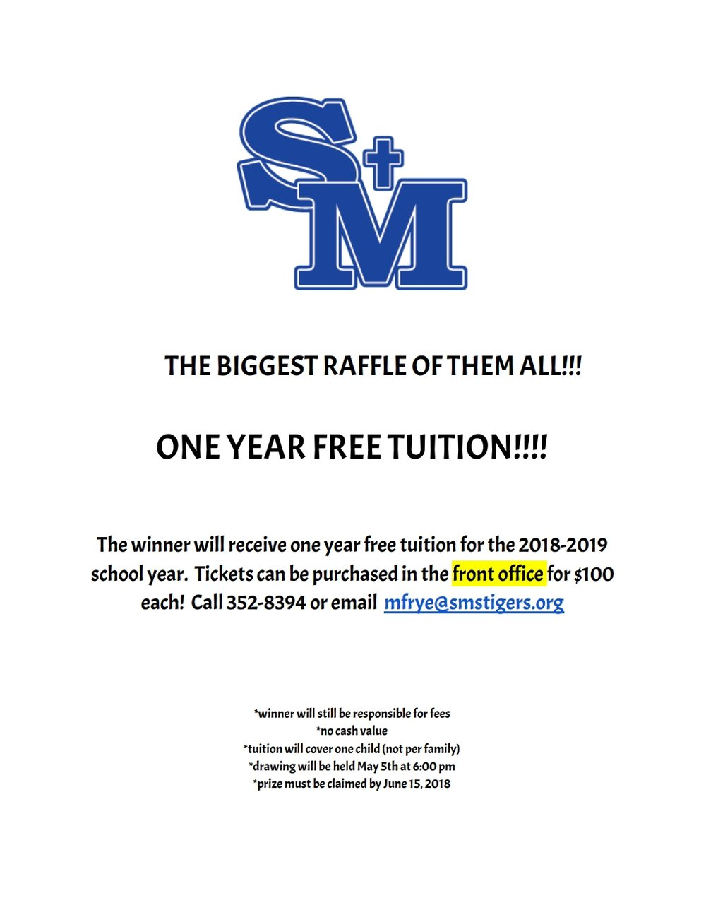 Tickets are going fast! Don't miss out on your chance for free tuition next school year!!
