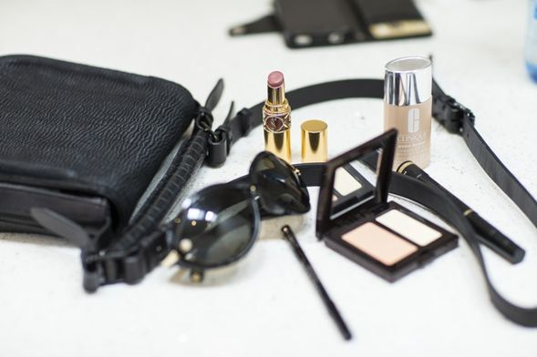 In Rae's bag: Tom Ford sunnies, Clinique Even Better Skin, YSL lipstick and Laura Mercier concealer