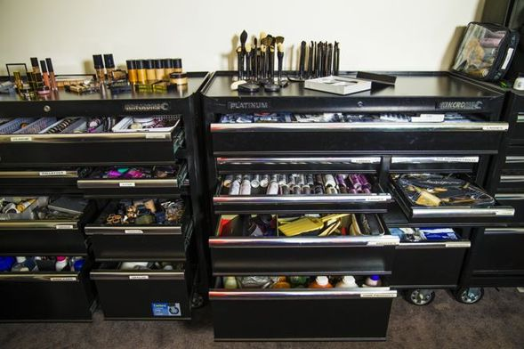 Rae stores her makeup in big tool storage units from the Hardware store