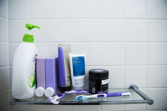 In the shower: Dove Body Wash, Kevin Murphy shampoo and conditioner and Korres cleanser