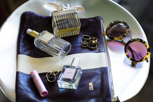 Chloe fragrance, a vintage Dior Parfum bottle, Maybelline Babylips and Philsophy Pure Grace perfume