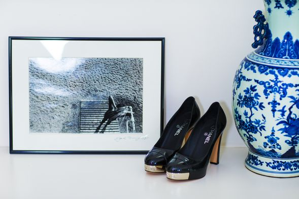 Black and white photography, Chanel pumps and vases from Macleay on Manning.