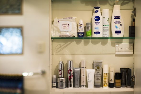Inside Kate's bathroom cabinet; serious skincare, Klorane dry shampoo and Nivea body