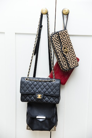 Joss's handbag collection features a classic Chanel Icon bag.