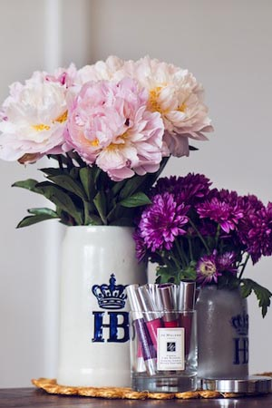 Somer stores her favourite Clinique Chubby Sticks in a repurposed Jo Malone candle.