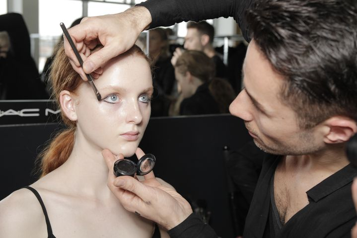 MAC Cosmetics Make Up Director, James Molloy, backstage at Ellery.