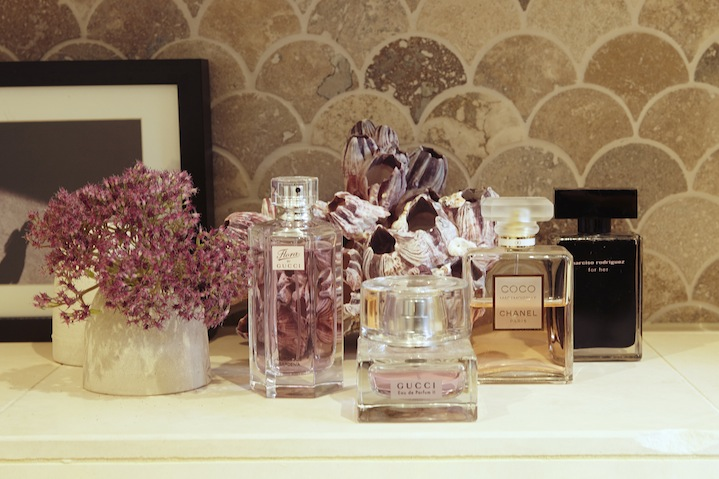 The girls spritz with feminine, floral fragrances
