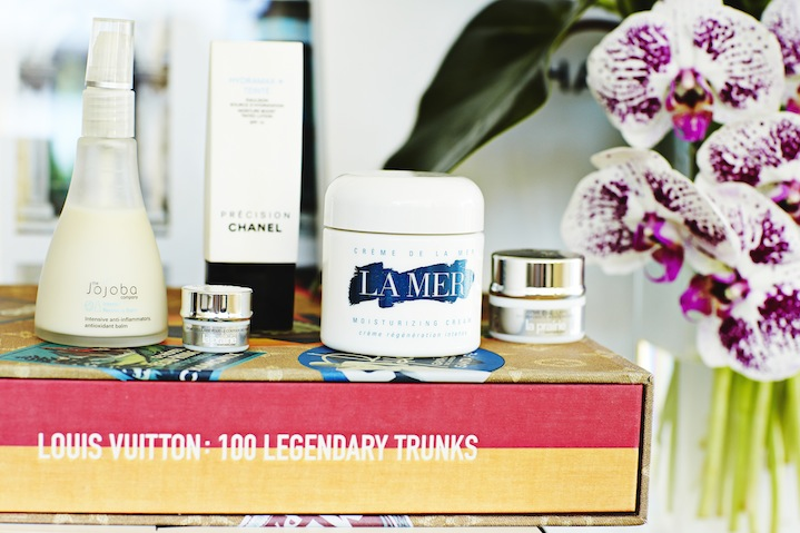 Skincare saviours: La mer moisturiser, La Prairie eye cream, The Jojoba Company's antioxidant balm and Chanel