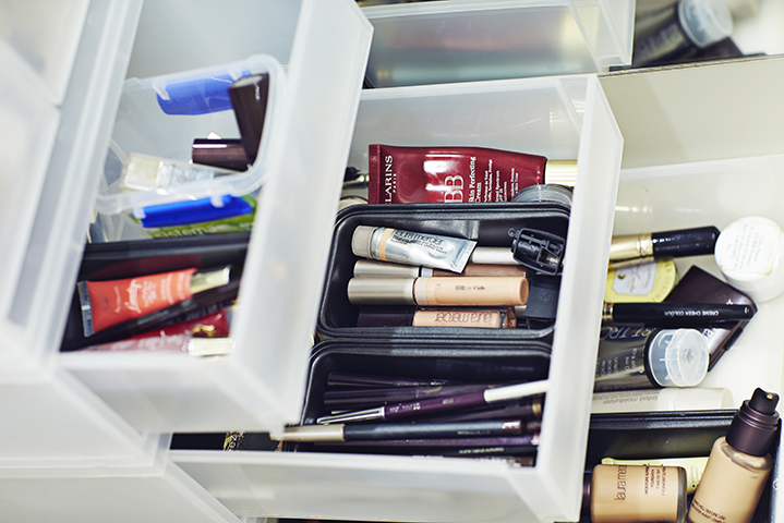 Kirsten keeps her makeup organised in drawers from Howard's Storage World