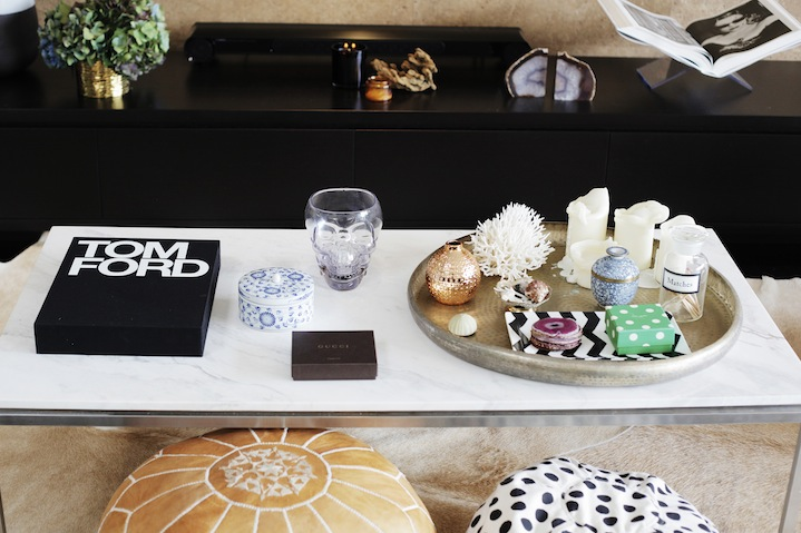 The makeup extraordinaire's coffee table reflects her love for luxury