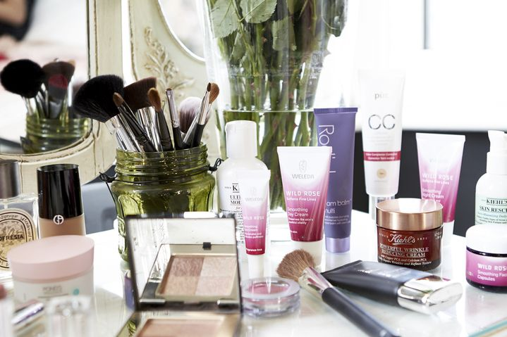 Skincare products outweigh makeup on Laura's vanity