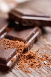 Dark chocolate with cocoa powder