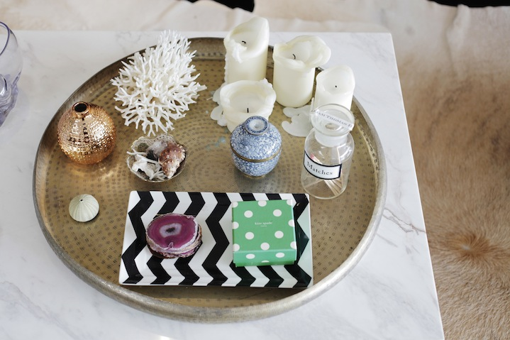 An inspiring assortment of objects adorns the coffee table