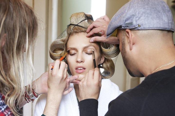 The hair and make up team prepare Anja her Ferragamo Signorina Eleganza shoot