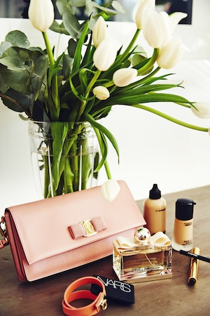 Anja's beauty essentials including Salvatore Ferragamo, YSL, Nars and MAC