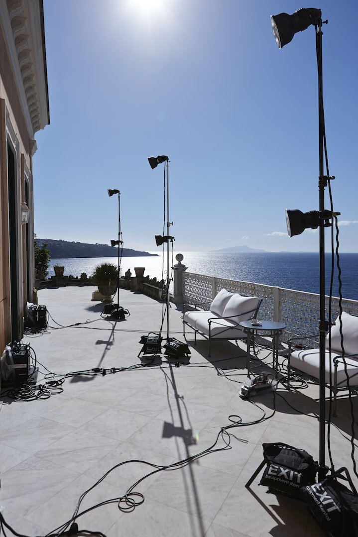 On set for Signorina Eleganza in Sorrento, Italy